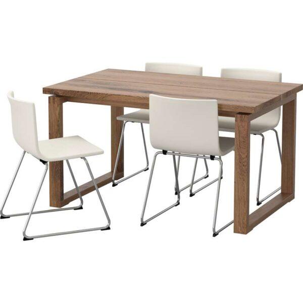 МОРБИЛОНГА / БЕРНГАРД Стол и 4 стула коричневый/Мьюк белый 140x85 см - Артикул: 492.460.86