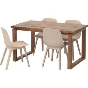 МОРБИЛОНГА / ОДГЕР Стол и 4 стула коричневый белый/бежевый 140x85 см - Артикул: 792.461.03