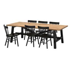 СКОГСТА / НОРРАРИД Стол и 6 стульев, акация/черный 235x100 см - Артикул: 892.461.45
