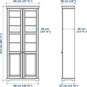 ЛИАТОРП Шкаф книжный со стеклянными дверьми белый 96x214 см - Артикул: 792.440.43
