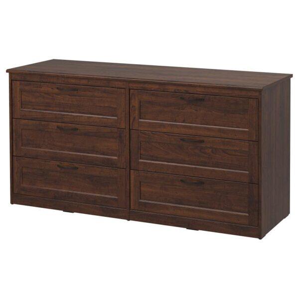 СОНГЕСАНД Комод с 6 ящиками коричневый 161x81 см - Артикул: 303.667.95