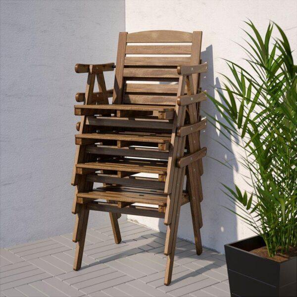 ФАЛЬХОЛЬМЕН Стол+4 кресла д/сада серо-коричневый/ФРЁСЁН/ДУВХОЛЬМЕН темно-серый - Артикул: 292.690.45