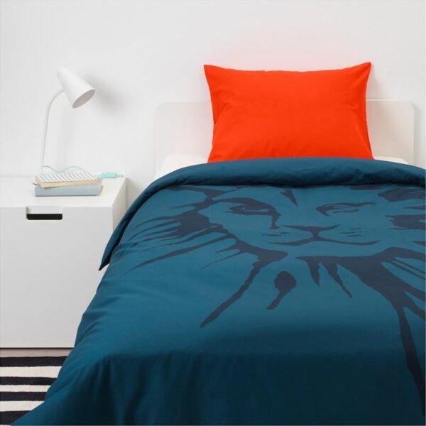 УРСКОГ Пододеяльник и 1 наволочка, лев/темно-синий 150x200/50x70 см. Артикул: 503.938.68