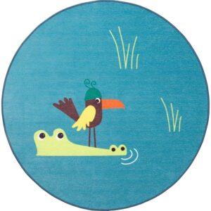ДЬЮНГЕЛЬСКОГ Ковер безворсовый птица/синий 100 см - Артикул: 803.937.63