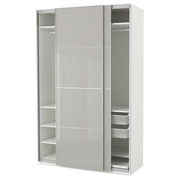 ПАКС Гардероб, белый Хокксунд/глянцевый светло-серый 150x66x236 см - Артикул: 892.487.95