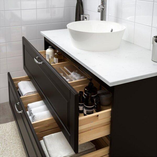 ГОДМОРГОН Шкаф для раковины с 2 ящ Кашён темно-серый 100x47x58 см - Артикул: 103.876.66
