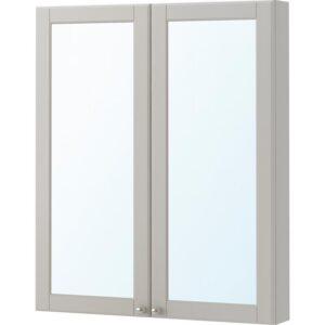 ГОДМОРГОН Зеркальный шкаф с 2 дверцами Кашён светло-серый 80x14x96 см - Артикул: 203.992.25