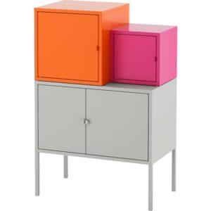 ЛИКСГУЛЬТ Комбинация д/хранения серый оранжевый/розовый 60x92 см - Артикул: 092.487.37