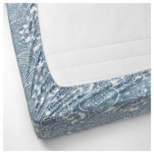 ЙЭТТЕВАЛЛМО Простыня натяжная, белый/синий 180x200 см - Артикул: 304.366.04