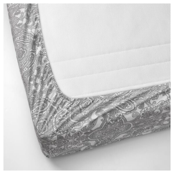 ЙЭТТЕВАЛЛМО Простыня натяжная, белый/серый 90x200 см. Артикул: 104.365.96