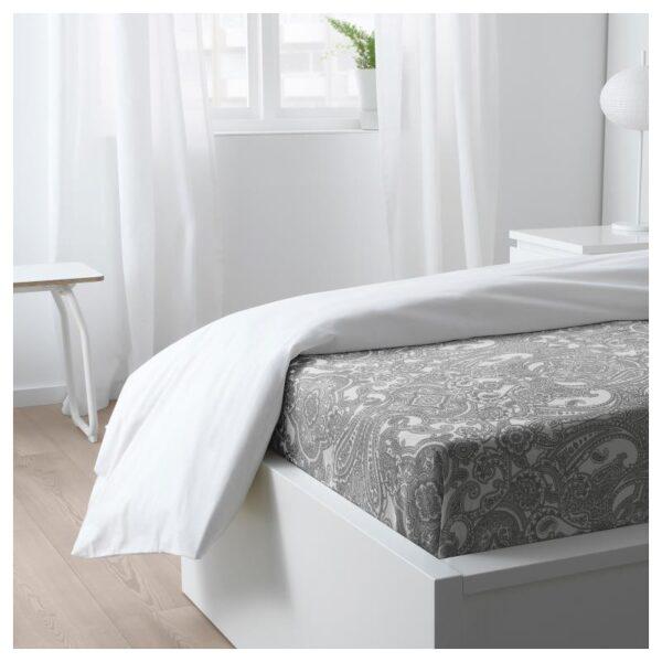 ЙЭТТЕВАЛЛМО Простыня, белый/серый 150x260 см. Артикул: 704.365.98