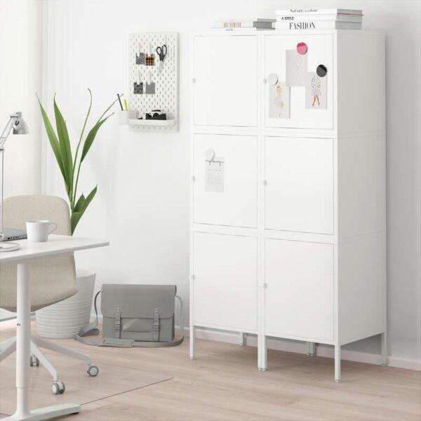 ХЭЛЛАН Комбинация для хранения с дверцами белый 90x47x167 см - Артикул: 092.494.02