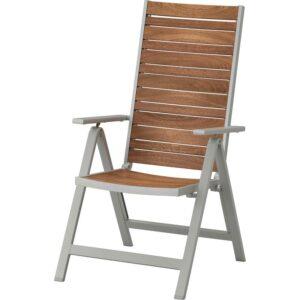 ШЭЛЛАНД Садовое кресло/регулируемая спинка светло-серый складной/светло-коричневый - Артикул: 604.053.47
