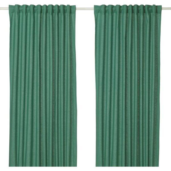 АННАЛУИЗА Гардины, 1 пара зеленый 145x300 см - Артикул: 704.108.24