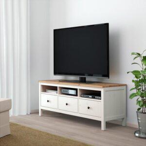 ХЕМНЭС Тумба под ТВ белая морилка/светло-коричневый 148x47 см | Артикул: 904.135.29