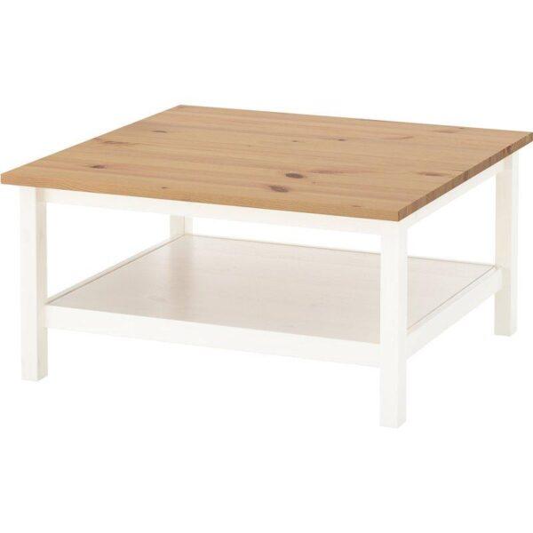ХЕМНЭС Журнальный стол белая морилка/светло-коричневый 90x90 см - Артикул: 904.134.97