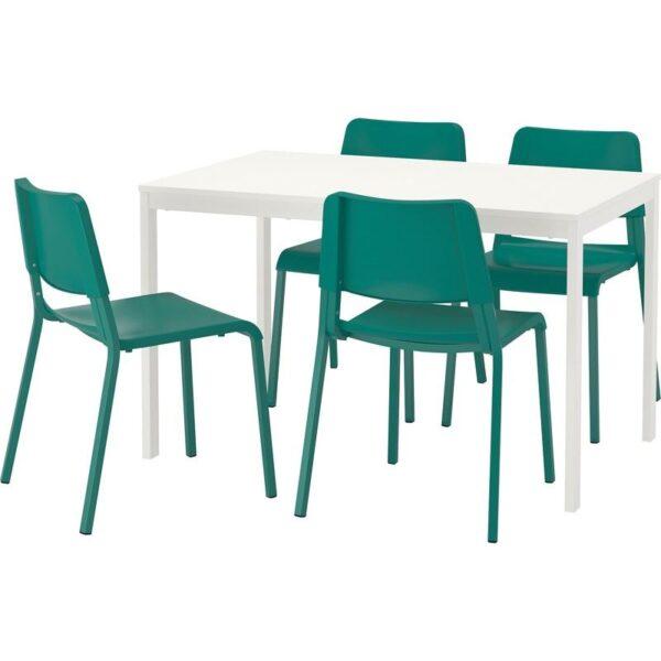 ВАНГСТА / ТЕОДОРЕС Стол и 4 стула белый/зеленый 120/180 см - Артикул: 392.521.72