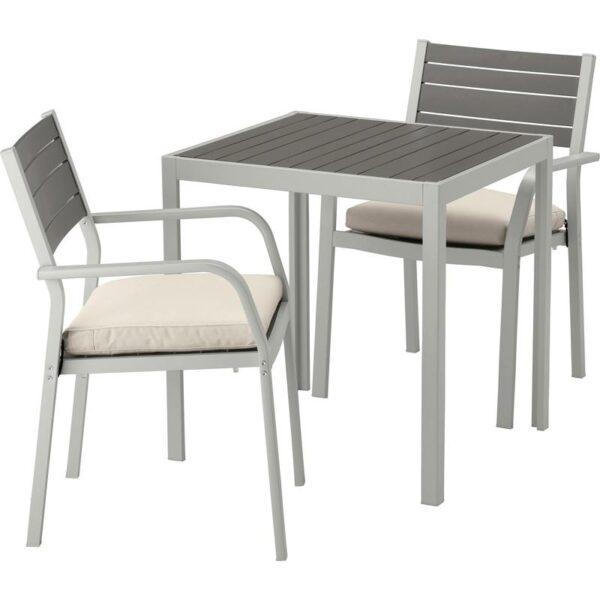 ШЭЛЛАНД Садовый стол и 2 легких кресла темно-серый/ФРЁСЁН/ДУВХОЛЬМЕН бежевый 71x71x73 см - Артикул: 992.652.99