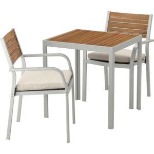 ШЭЛЛАНД Садовый стол и 2 легких кресла светло-коричневый/ФРЁСЁН/ДУВХОЛЬМЕН бежевый 71x71x73 см - Артикул: 492.652.11