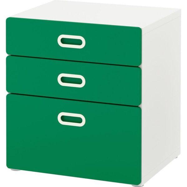 СТУВА / ФРИТИДС Комод с 3 ящиками белый/зеленый 60x64 см - Артикул: 792.622.30