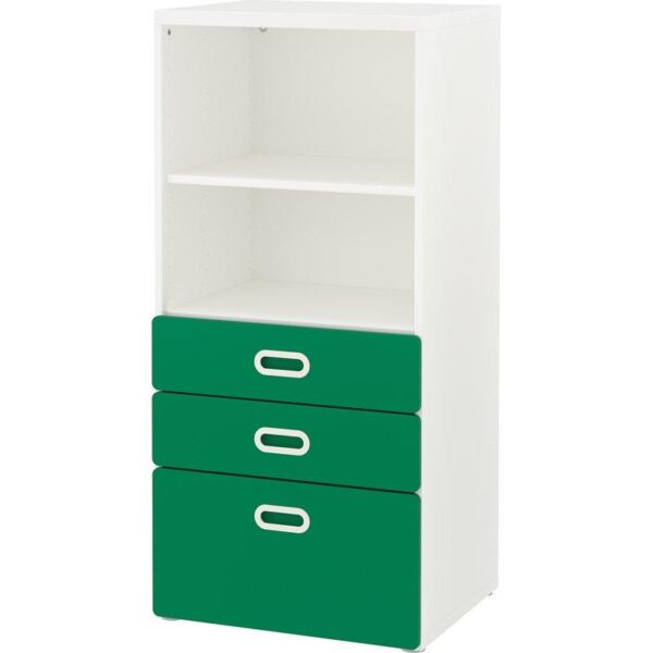 СТУВА / ФРИТИДС Стеллаж с ящиками белый/зеленый 60x50x128 см - Артикул: 892.622.39