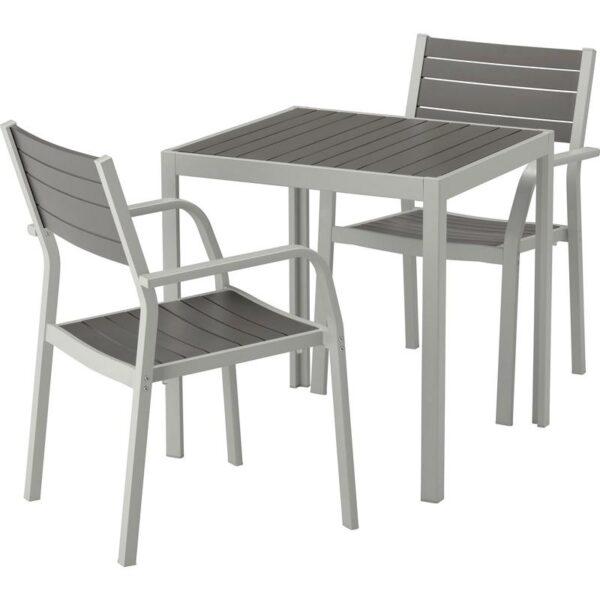ШЭЛЛАНД Садовый стол и 2 легких кресла темно-серый/светло-серый 71x71x73 см - Артикул: 192.649.44