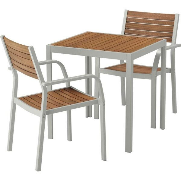 ШЭЛЛАНД Садовый стол и 2 легких кресла светло-коричневый/светло-серый 71x71x73 см - Артикул: 092.649.06