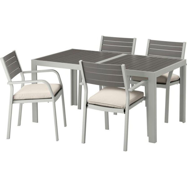 ШЭЛЛАНД Стол+4 кресла, д/сада темно-серый/ФРЁСЁН/ДУВХОЛЬМЕН бежевый 156x90 см - Артикул: 292.655.04