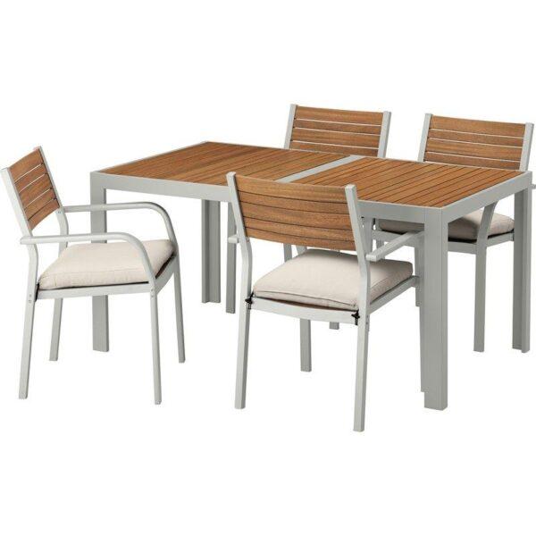ШЭЛЛАНД Стол+4 кресла, д/сада светло-коричневый/ФРЁСЁН/ДУВХОЛЬМЕН бежевый 156x90 см - Артикул: 992.654.97