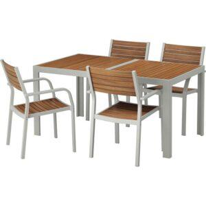 ШЭЛЛАНД Стол+4 кресла, д/сада светло-коричневый/светло-серый 156x90 см - Артикул: 492.650.65