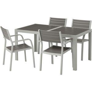 ШЭЛЛАНД Стол+4 кресла, д/сада темно-серый/светло-серый 156x90 см - Артикул: 792.650.16