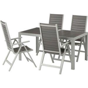 ШЭЛЛАНД Стол+4 кресла, д/сада темно-серый/светло-серый 156x90 см - Артикул: 992.654.83