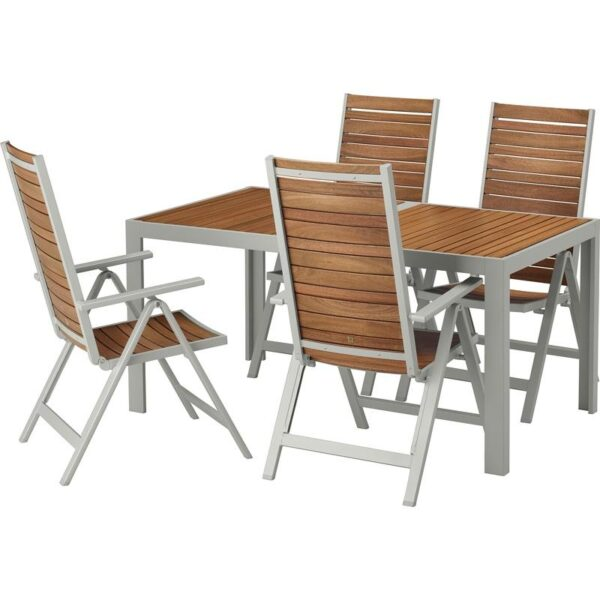 ШЭЛЛАНД Стол+4 кресла, д/сада светло-коричневый/светло-серый 156x90 см | Артикул: 292.654.86