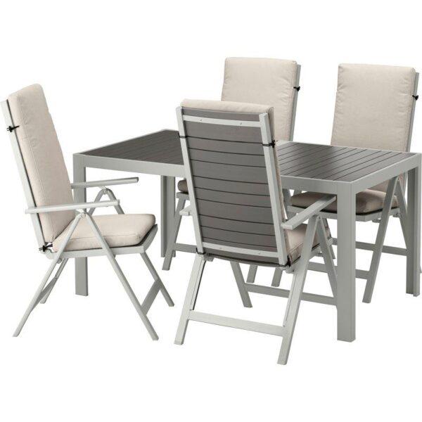ШЭЛЛАНД Стол+4 кресла, д/сада темно-серый/ФРЁСЁН/ДУВХОЛЬМЕН бежевый 156x90 см - Артикул: 692.671.10