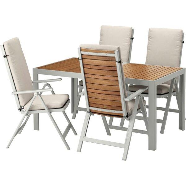 ШЭЛЛАНД Стол+4 кресла, д/сада светло-коричневый/ФРЁСЁН/ДУВХОЛЬМЕН бежевый 156x90 см | Артикул: 992.671.04