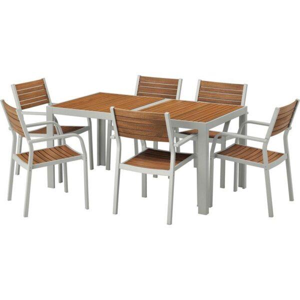 ШЭЛЛАНД Стол+6 кресел,д/сада светло-коричневый/светло-серый 156x90 см - Артикул: 392.652.02