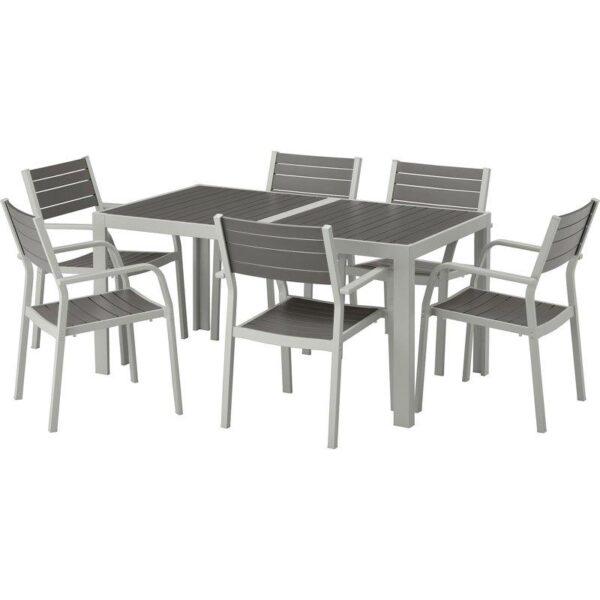 ШЭЛЛАНД Стол+6 кресел,д/сада темно-серый/светло-серый 156x90 см - Артикул: 692.652.05