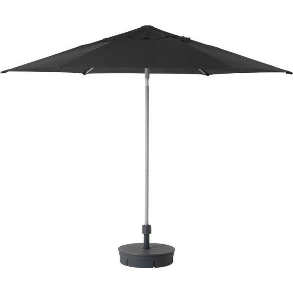 КУГГЁ / ЛИНДЭЙА Зонт от солнца с опорой черный/Гритэ темно-серый 300 см - Артикул: 892.676.23