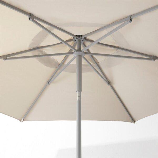 КУГГЁ / ЛИНДЭЙА Зонт от солнца с опорой бежевый/Гритэ темно-серый 300 см - Артикул: 292.676.21