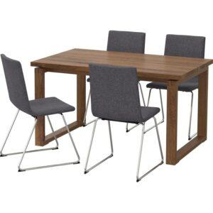 МОРБИЛОНГА / ВОЛЬФГАНГ Стол и 4 стула коричневый/Гуннаред классический серый 140x85 см - Артикул: 292.598.43