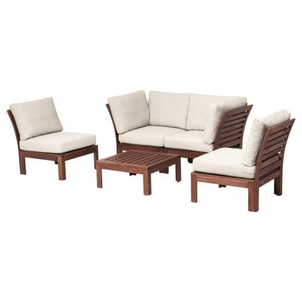 ЭПЛАРО 4-местный комплект садовой мебели коричневая морилка/ФРЁСЁН/ДУВХОЛЬМЕН бежевый - Артикул: 592.609.44