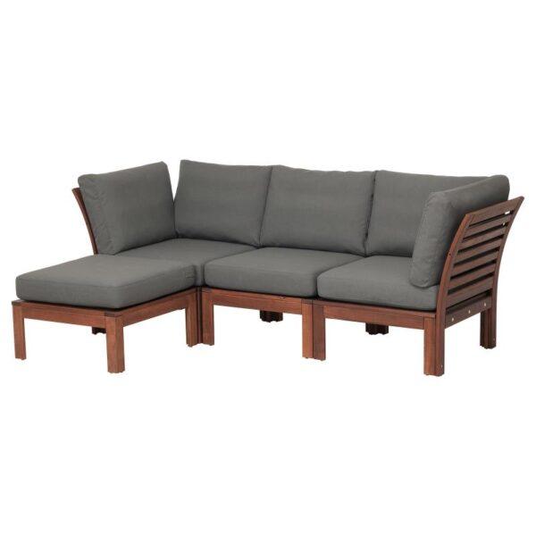ЭПЛАРО 3-местный модульный диван, садовый, с табуретом для ног коричневая морилка коричневая морилка/ФРЁСЁН/ДУВХОЛЬМЕН темно-серый 143/223x80x84 см - Артикул: 892.620.36