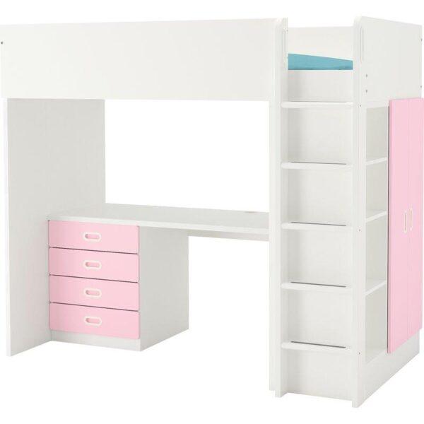 СТУВА ФРИТИДС Кровать-чердак 4 ящика 2 дверцы, белый светло-розовый 207x99x182 см. Артикул: 792.686.56