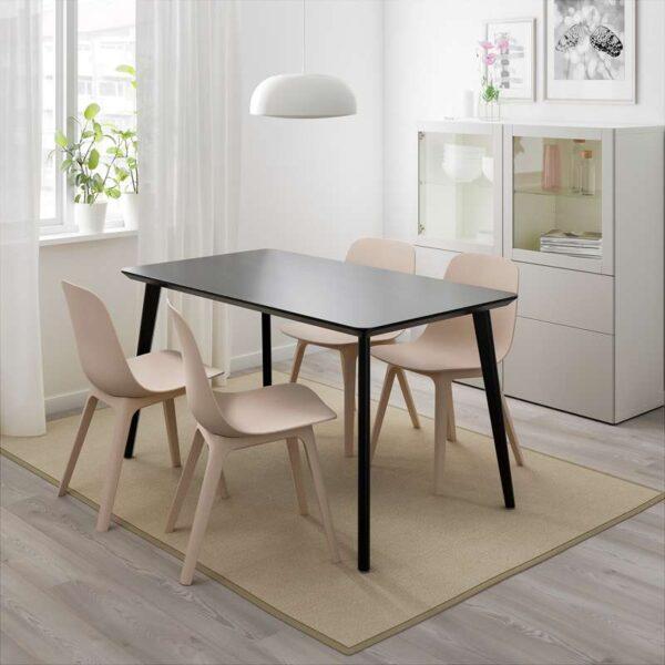 ЛИСАБО / ОДГЕР Стол и 4 стула черный/бежевый 140x78 см - Артикул: 992.597.12