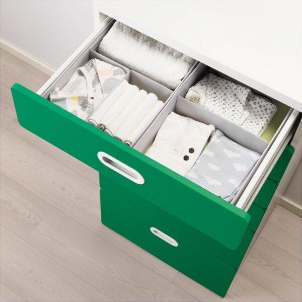 СТУВА / ФРИТИДС Комод с 6 ящиками белый/зеленый 60x50x128 см - Артикул: 392.656.31