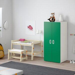 СТУВА / ФРИТИДС Шкаф платяной белый/зеленый 60x50x128 см | Артикул: 792.657.52