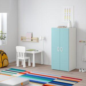 СТУВА / ФРИТИДС Шкаф платяной белый/голубой 60x50x128 см | Артикул: 392.527.99