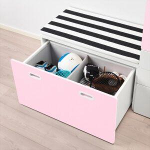 СТУВА / ФРИТИДС Гардероб и скамья с ящиком белый/светло-розовый 150x50x192 см | Артикул: 392.661.12