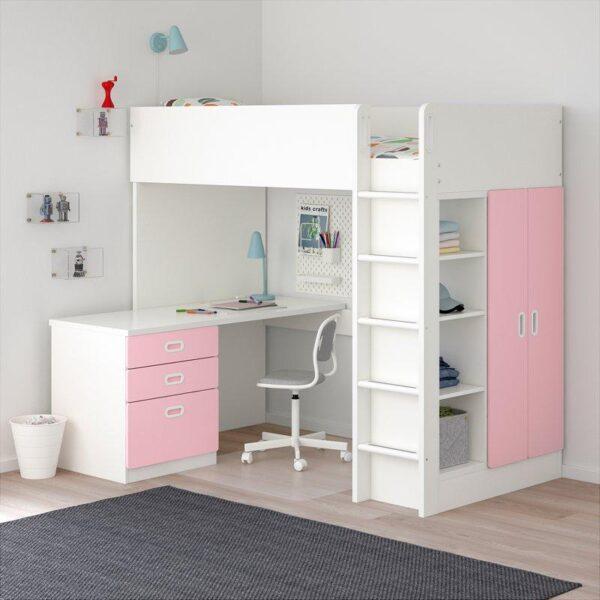 СТУВА ФРИТИДС Кровать-чердак 3 ящика 2 дверцы, белый светло-розовый 207x99x182 см. Артикул: 692.676.76