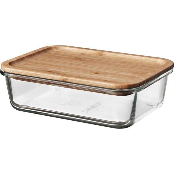 ИКЕА/365+ Контейнер для продуктов с крышкой прямоугольн формы стекло/стекло бамбук 1.0 л | Артикул: 692.690.67